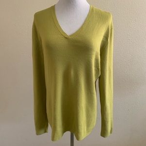 Chico's 3 Sweater Green Lime Long Sleeve V Neck